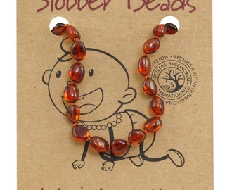 Cognac Oval Baby Amber Necklace