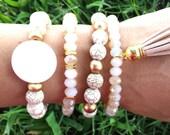 Set of 4 Womens White Neutral Pearl Shell, Natural Cream Howlite Gemstone, Gold Wood Bead Tassel Boho Stretch BRACELETS Jewelry Bling Set
