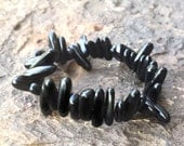 Womens Handcrafted Natural Black STONE Gemstone Slice Chip Bead Stack Boho Layer Trend Chic Stretch Bracelet Jewelry Beach Arm Candy Gift