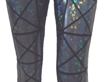 Silver Mosaic Holographic Leggings, Yoga Pants for Women, Exercise Pants, Holographic Mermaid Scale Leggings