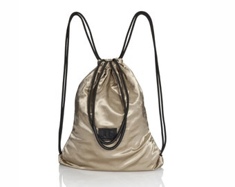 sport backpack, women gym bag, sport bag, gold canvas backpack, sack bag, women canvas rucksack , waterproof bag , lightweight bag, Judtlv