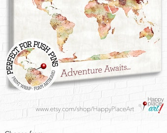 Adventure Awaits World Map, Push Pin, World Map, Map on Canvas, Framed World Map, Bedroom Wall Art, vintage colors, map for pins, Travel map