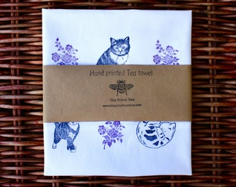 Cat and Floral print cotton tea towel | 100% cotton | Purple flower | Eco friendly | Lino print | 45cm x 68cm | Hand printed |