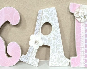 Custom Nursery Letters- Baby Girl Nursery Decor, Personalized Baby Gift, The Rugged Pearl, Wall Letters, Wooden Letters