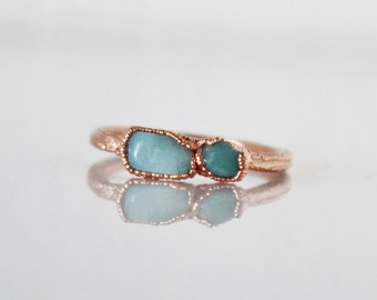 Amazonite ring / raw stone ring / electroformed ring / Copper jewelry / natural stone ring / teal stone ring