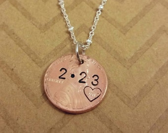 our lucky day penny necklace anniversary gift anniversary necklace for wife girlfriend for her stamed penny jewelry personalized necklace