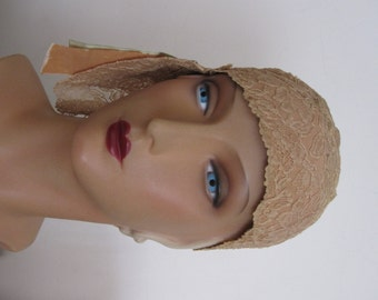 SALE - Carolina - 1920's Asymmetrical Lace Cloche Hat with Satin Ribbon Detailing