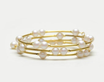 Satin White Pearl Memory Wire Bracelet - White and Gold Beaded Bracelet - Pearl Wedding Jewelry