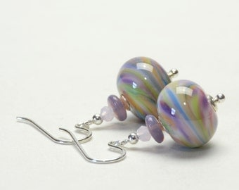 Swirly Mulitcolor Light Purple, Pink, Green and Blue Lampwork Glass Earrings on Sterling Silver Earwires
