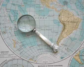 """Small Size Magnifying Glass with Retro Mother of Pearl Handle 2.5"""" Lens Glass Lens by LondonCutlers"""