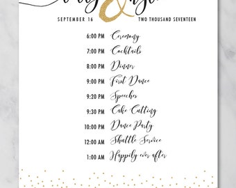 kylie wedding schedule poster wedding order of events timeline poster printable wedding poster