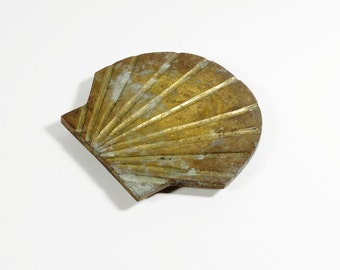 Vintage Brass Scallop Trivet - Brass Seashell Trivet - Custom Decor - Solid Brass Trivet Shell