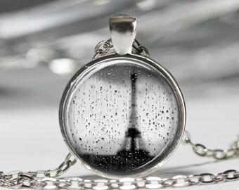 Eiffel Tower Necklace, Romantic Rainy Paris Pendant, Romance Eiffel Tower Jewelry [A63]