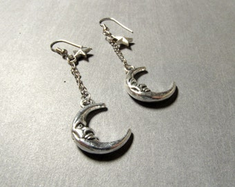 Crescent Moon Earrings Witch Jewelry Celestial Charms Silver Moon Earrings Tiny Star Earrings