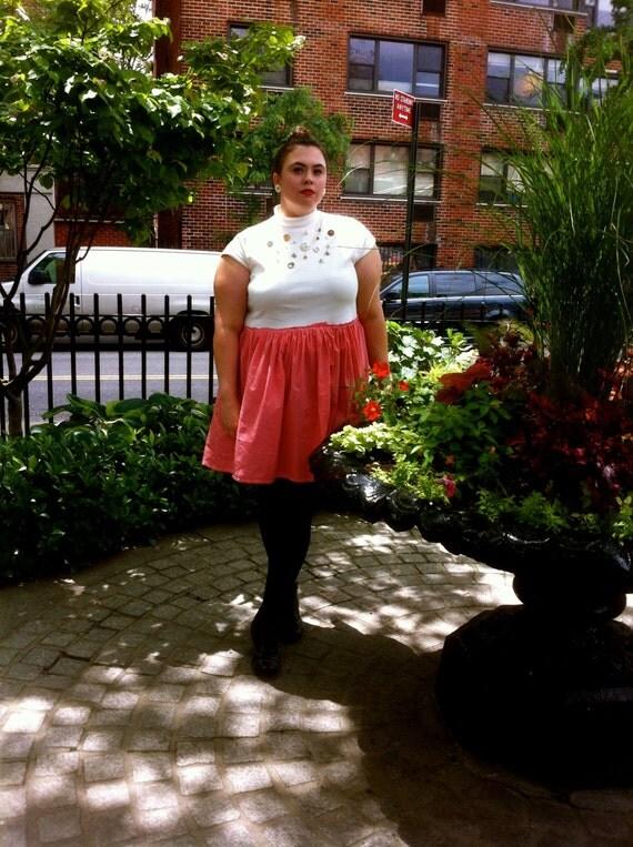 Plus Size - Modern Vintage Button Detail Swing Dress (Size 1X)