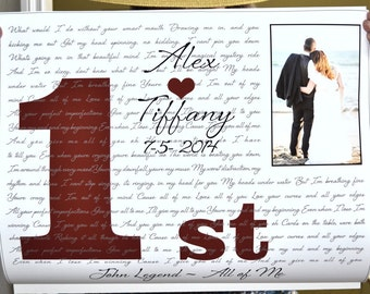 1st Anniversary Gift, wife personalized Any Year Custom Lyrics First Dance Wedding Song Friend Sister Unique Photo Art Paper anniversary her