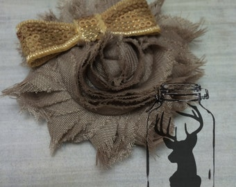 Taupe Shabby Flower Hair Clip with Gold Sequin Bow