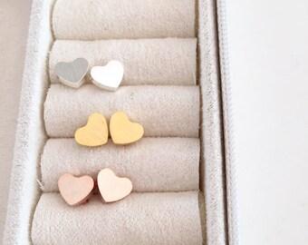 Heart studs, Silver heart earrings, little earrings, christmas gift idea for her, Gift for her under 10 USD