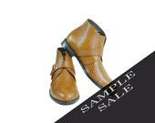 SAMPLE SALE  Leopard  Leather Ankle Belted Boots. BUKOWSKI Style. Mens 9.