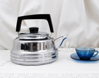 Large Vintage French Mid Century Chromed Metal Kettle with Bakelite Handle, French Country Decor, Retro  Home Interior, Kitchenware, Coffee,