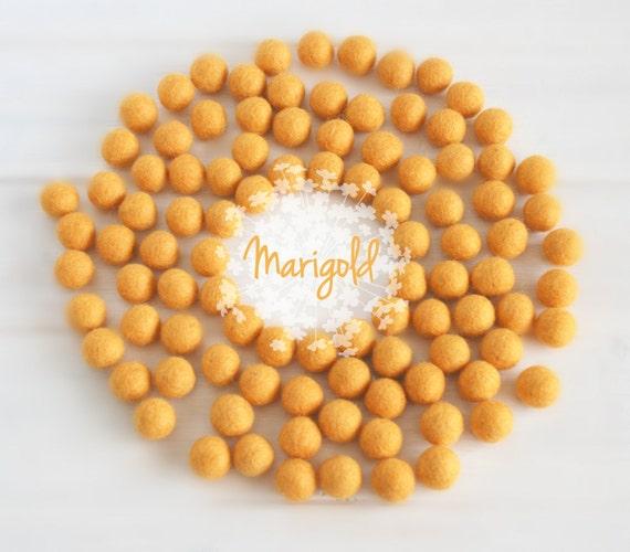 Wool Felt Balls - Size, Approx. 2CM - (18 - 20mm) - 25 Felt Balls Pack- Color Marigold-6040 - Golden Yellow Color - 2CM Goldrod Felt Balls