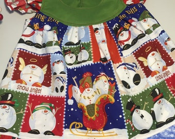 Snowman Red Green Blue Twirly dress Size 2T