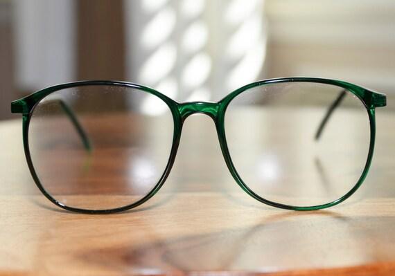Vintage Green Eyeglasses Round Oversized 1980s Retro Mens
