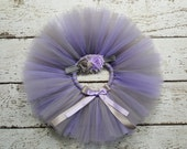 Lavender & Grey Tutu - Baby Tutu Set - Cake Smash Outfit - Purple and Gray Tutu Headband Set - Baby Photo Prop Newborn Tutu Infant Tutu