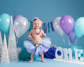 Birthday Tutu Outfit - Cake Smash Outfit Girl - Tutu Set - First Birthday - Purple & Teal - Twins Birthday Outfit - Newborn Tutu Baby Tutu