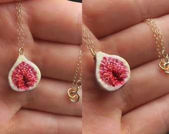 Fig Necklace Gold Filled - Fruit Jewelry, Food jewelry, Gold Jewelry, Cute, Kawaii