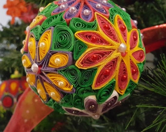 Hand made flowers Christmas ornament.
