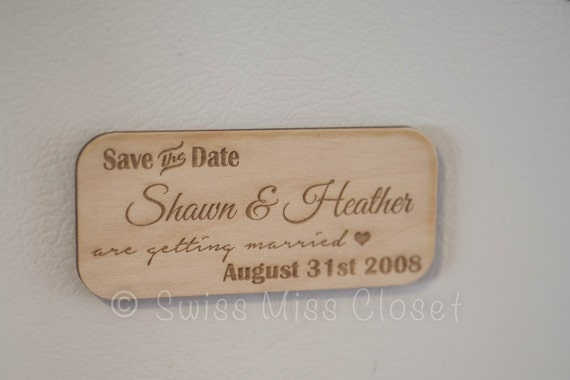 Set of 10 Wooden Save the Date Rustic Engraved Wood Calendar
