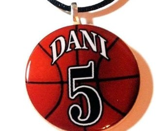 Personalized Basketball Necklace with name and number, Personalized Necklaces for Her, Personalized Necklaces for Mom, Basketball Charm