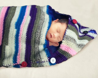 sleep sack / sleeping bag with soft lining for baby crocheted striped purple pink grey