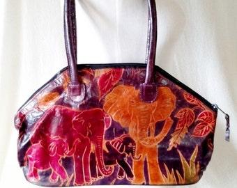Vintage Painted Leather Tribal Elephant Handbag Purse