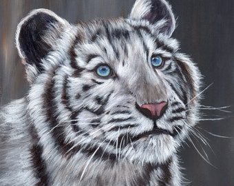 Tiger cub painting | Etsy