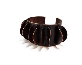 Foldformed Copper Bracelet Cuff - Fold Formed Rustic Tribal Folk Earthy Medieval Warrior - Forged Textured Heat Patina