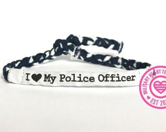 I love my police officer, Police support bracelet, Police wife bracelet, Police mom bracelet, Police girlfriend bracelet, Leo bracelet gift