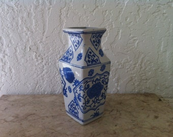 Vintage Art Pottery, Chinese Blue & White, Square Vase, Asian Style, Vines and Flowers, White Ceramic, Blue Glaze, Free Shipping