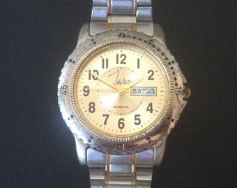Vintage Mens Watch, Designer John Weitz Quartz Battery Watch, Round Bezel, Silver Dial, Day Date Windows, Two Tone Case & Band FREE SHIPPING