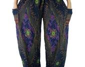 Peacock Boho pants /Floral Hippies pants /Yoga pants one size fits Navy