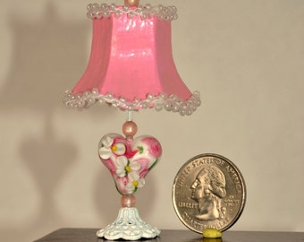 RESERVED Dollhouse Miniature Pink Heart Lamp, 1:12th Scale Miniature Glass Heart Bead Lamp, Non Working Bouduoir Lamp Beaded Lampshade