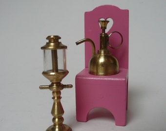 Vintage Miniature brass Dolls House Light and Oil Can