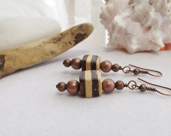 Boho, Rustic, Southwestern, Chunky, Drop, Dangle, Brown and Cream Beaded Earrings with Wood and Copper Beads, for Summer, Fall, Gift for Her