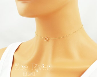 Choose silver or gold. Star choker necklace. Star choker. Elegant and dainty star choker necklace