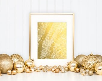 New York City Map, Gold Foil Map™, Map Print, New York Print, Gold Foil Print, NYC Map, Gift for Traveler, New York Map, Foil-Pressed Map