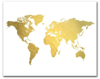World Map Print, Gold Foil Map™, Gold World Map, Gold Map Print, Map of the World, The Golden World Print Foil Pressed At, Foil Map