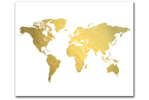 World Map Image For Print. Like this item  World Map Print Gold Foil