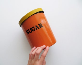 70s Retro Sugar Canister with Lid Orange and Yellow Enamel Container Colorblock Kitsch Kitchen Storage