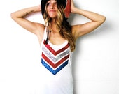 SEQUIN July 4th Tank. Sequin 4th of July Shirt. Patriotic Tank Top. American Flag Shirt. Red White and Blue. Chevron Tank. Stars Stripes.